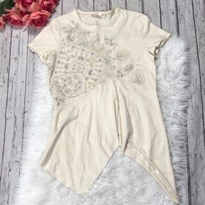 Sundance Embroidered Paisley Asymmetrical Top